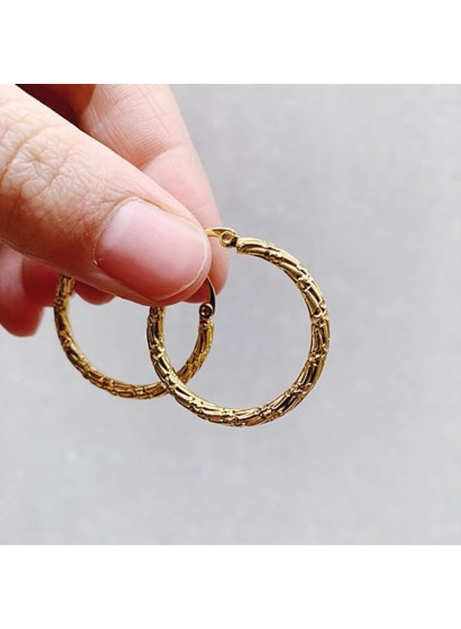 Rocky Rosa bamboo hoops earrings-gold