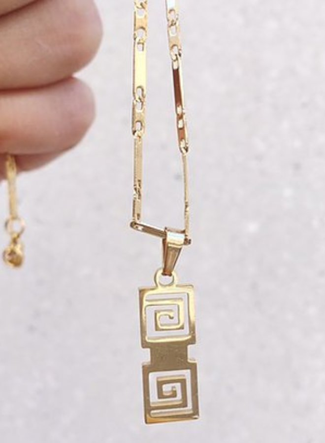 Rocky Rosa  take me to greece necklace - goud
