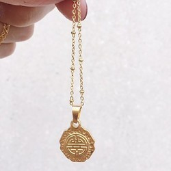 Rocky Rosa Rocky Rosa take me to greece  coin necklace -gold