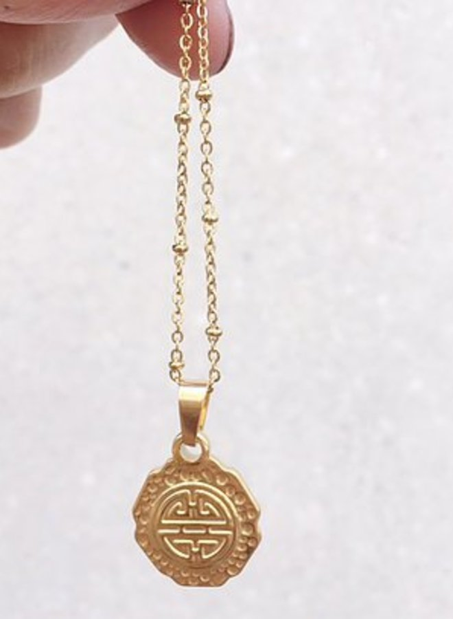 Rocky Rosa  take me to greece coin necklace - goud