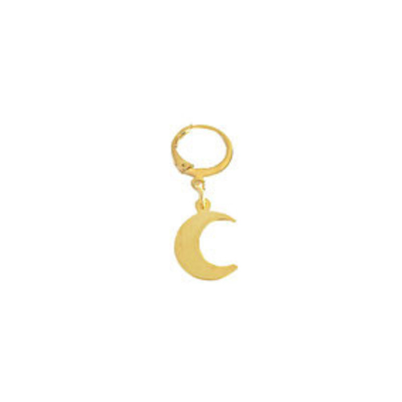 2 THE MOON 'N BACK 2 the moon and back little moon earrings-gold