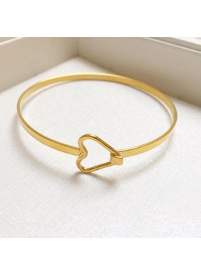 2the moon `n back heart bangle bracelet-gold