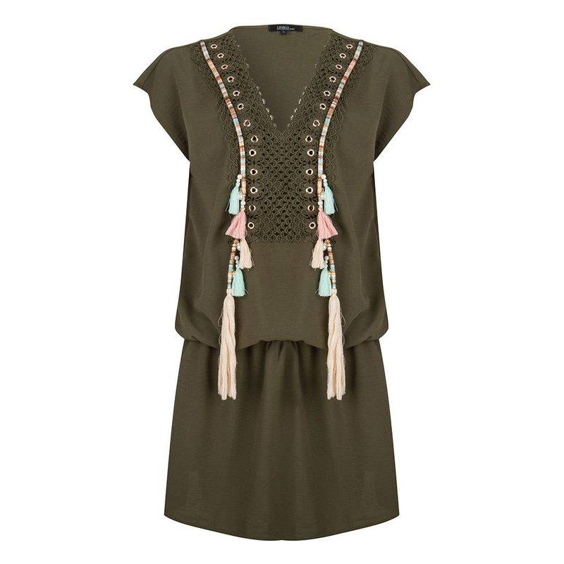 Boho Ibiza dress  pompom kaftan  - Army Green