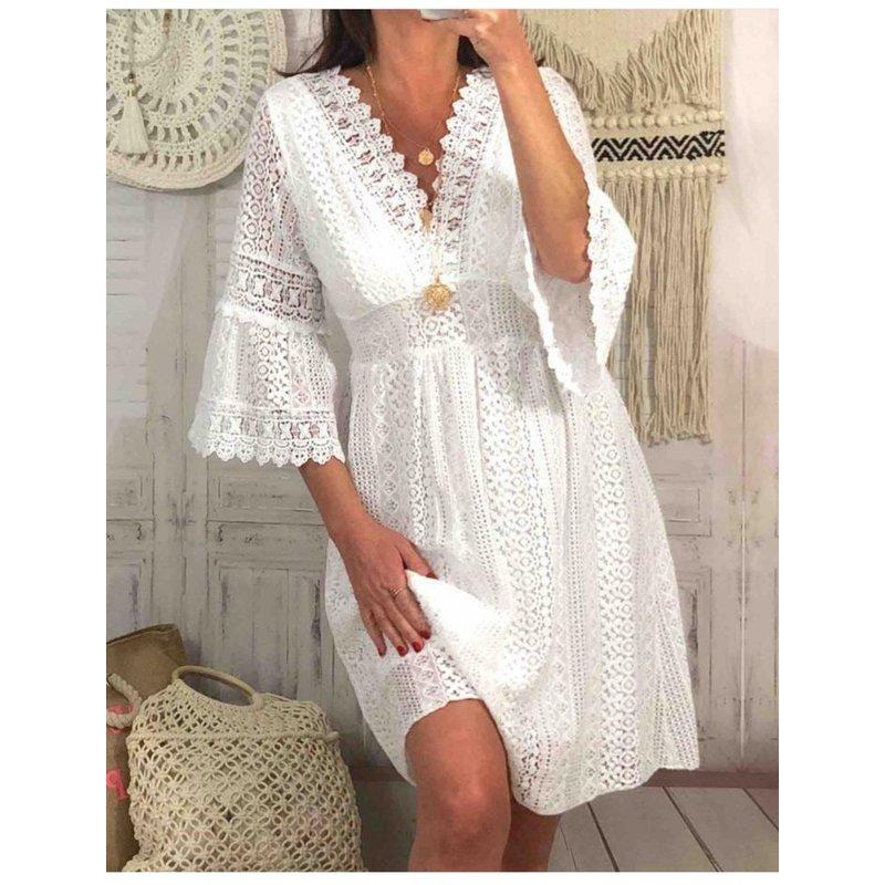 Boho Ibiza  Lace Dress  - White