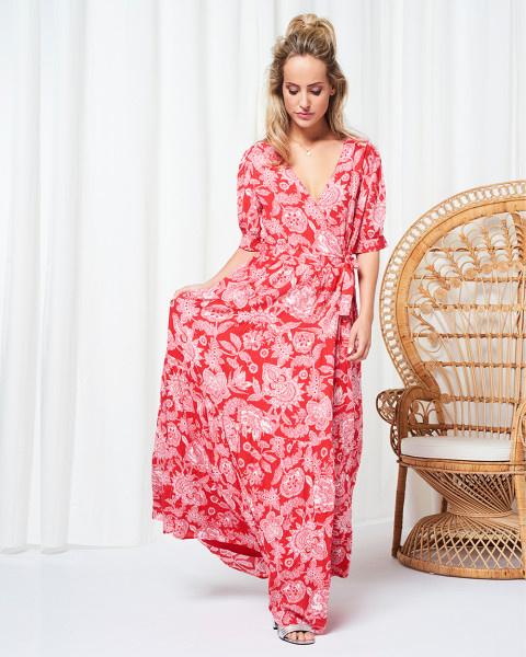Maxi Jurk Rood.Freebird Lilliana Wrap Long Dress Red Mirazo Mirazo