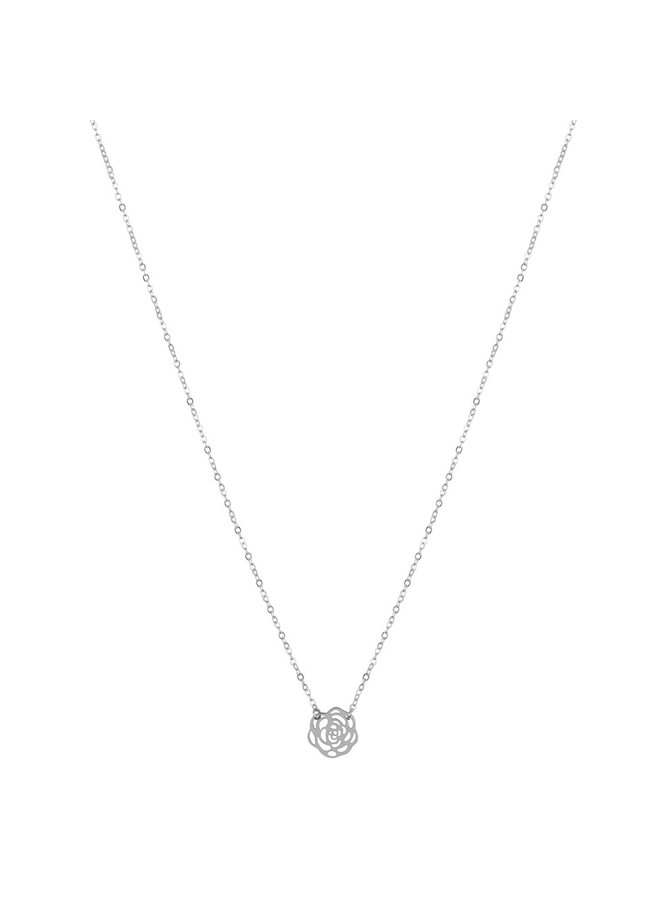 ZAG Bijoux Rose Necklace - Silver