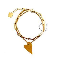 ZAG Bijoux  ZAG Bijoux  dubbele schakel hart armband - goud