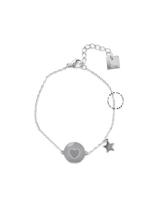 ZAG Bijoux Heart & Star armband-zilver