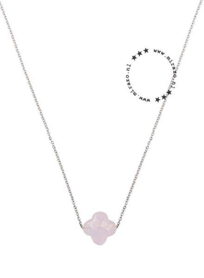 ZAG ketting klavertje zacht roze -zilver