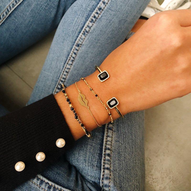 ZAG Bijoux  ZAG Bijoux Black Stone armband - Goud