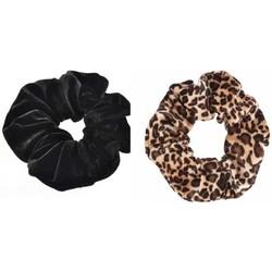 Scrunchies set van 2 stuks - Zwart en Panterprint
