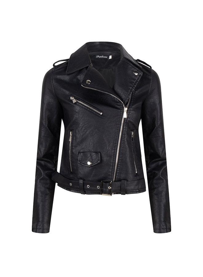 leatherlook jacket-black