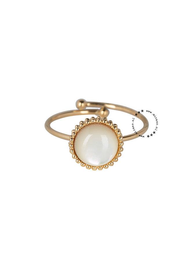 ZAG  Bijoux  white Stone ring -goud