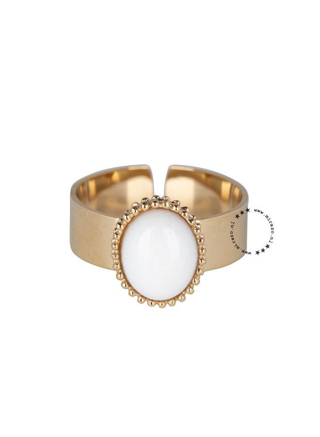ZAG  Bijoux  Ibiza white Stone ring - Goud