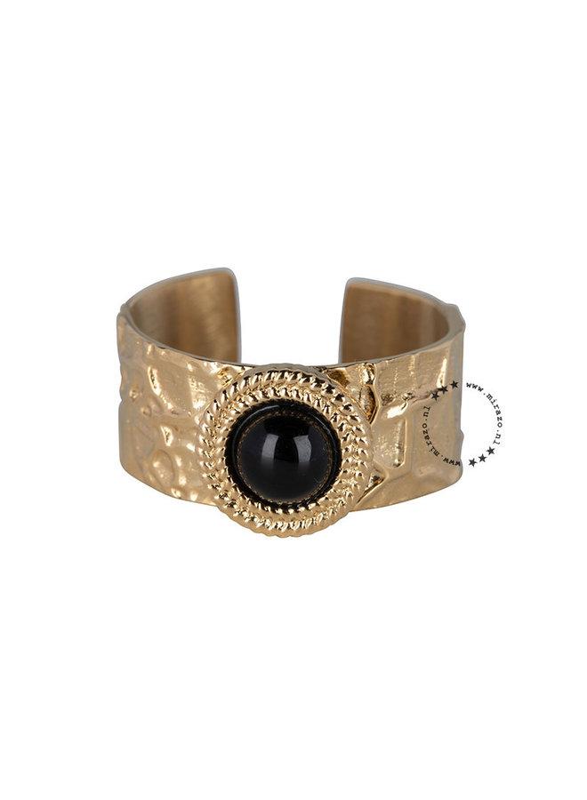 ZAG  Bijoux  Onyx Stone ring - Goud