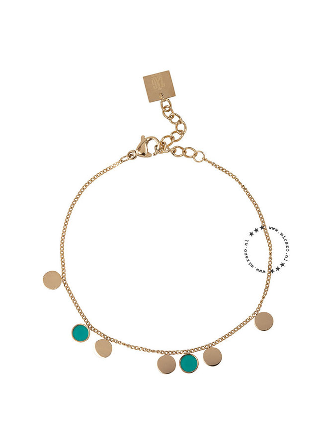ZAG Bijoux  coins aqua armband- goud