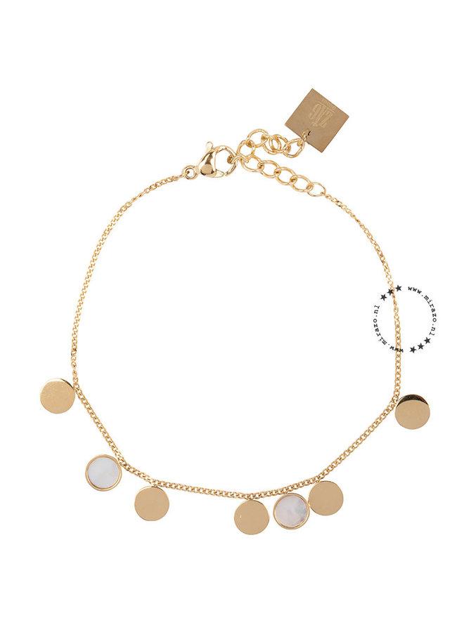 ZAG Bijoux  coins white armband- goud