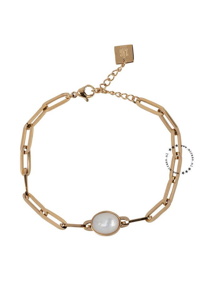 ZAG Bijoux schakel armband met witte steen- goud