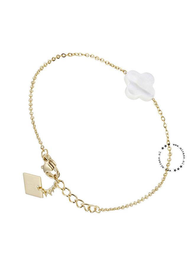 ZAG armband klaver wit-goud