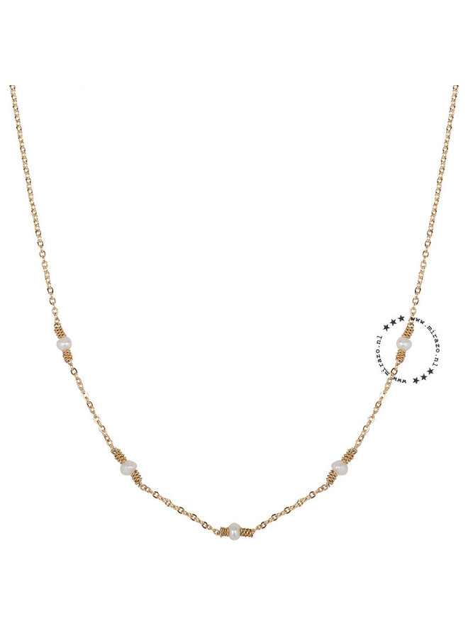 ZAG Bijoux ketting- white pearls - Goud