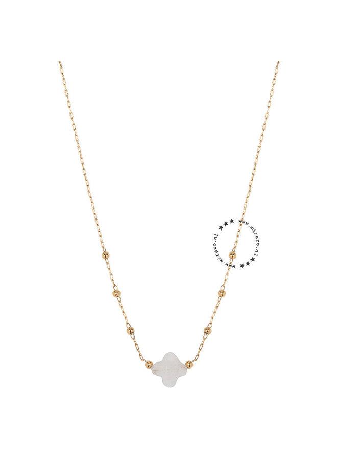ZAG Bijoux ketting wit klavertje - goud