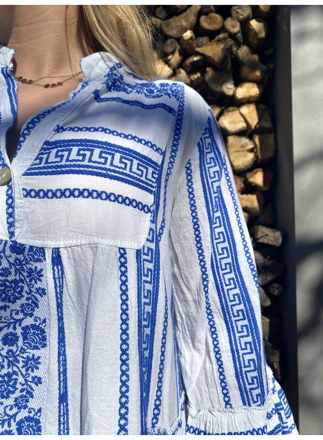 Ibiza aztek boho dress- blauw