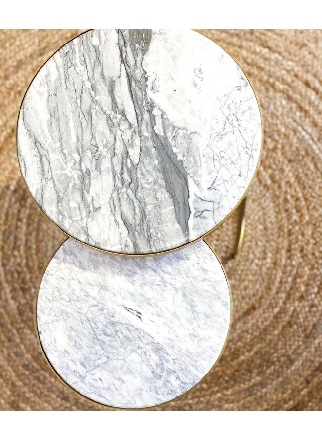 Housevitamin ronden gouden marmer tafel- set van 2
