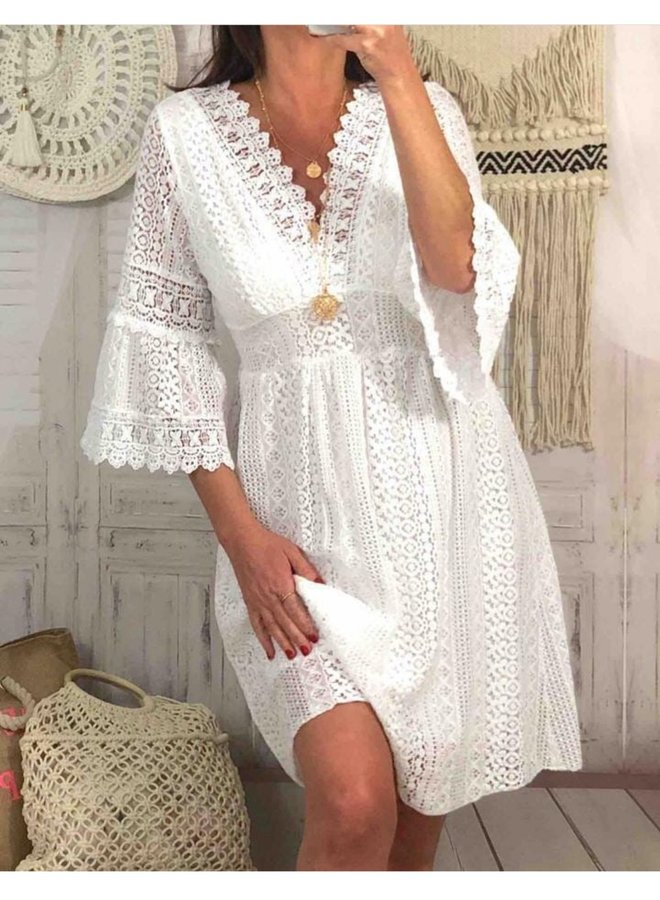 Boho Ibiza  Lace Dress  - White
