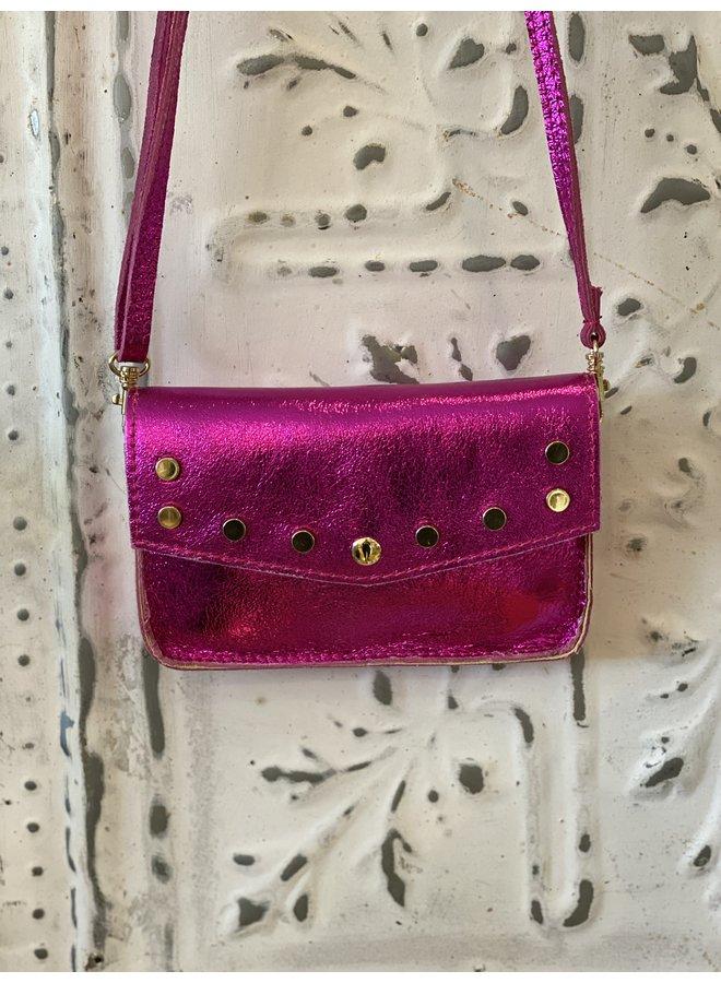 Metallic schoulder bag- pink