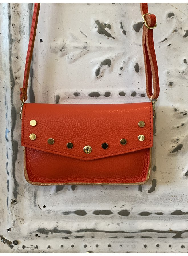 Metallic schoulder bag- coral