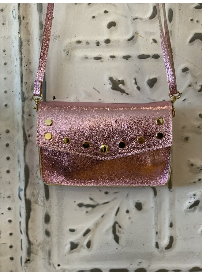 Metallic schoulder bag- baby pink