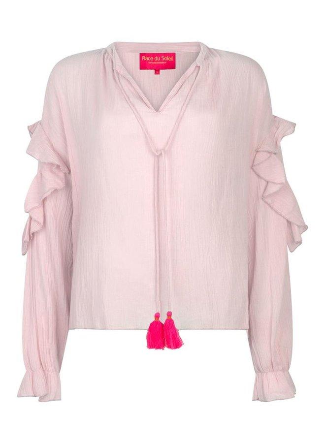 Place du Soleil roesel blouse s20435a - rose