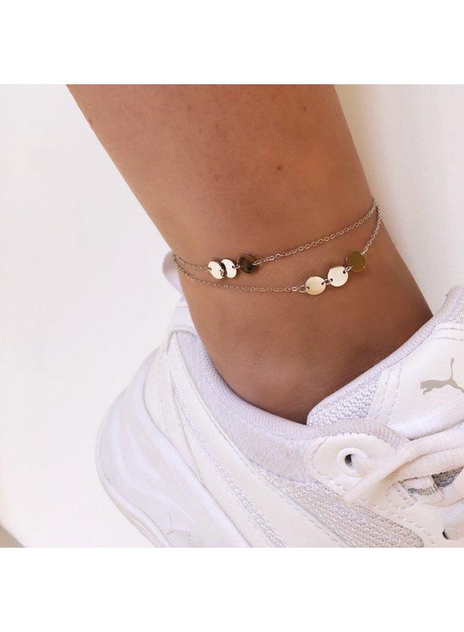ZAG Bijoux dubbel  gouden enkelbandje - muntjes