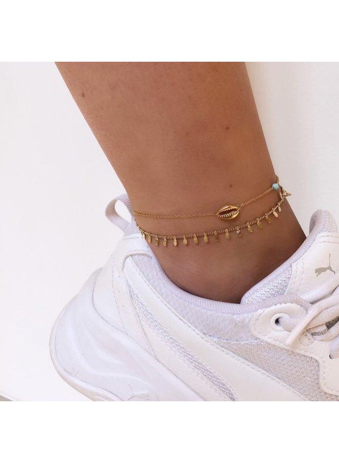ZAG Bijoux dubbel gouden schelp enkelbandje