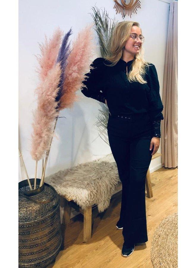 Boho ibiza lace  blouse-zwart