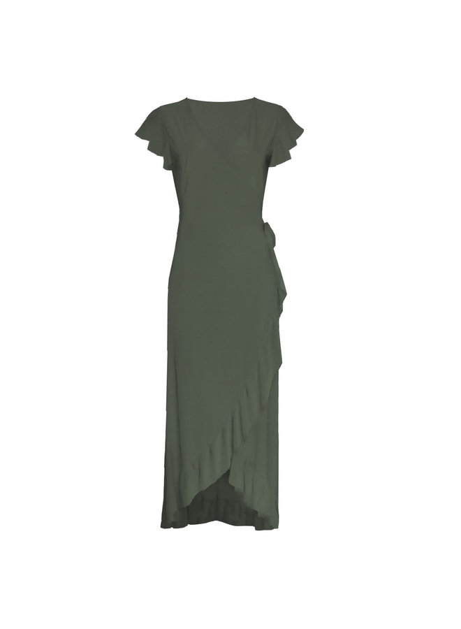 Boho Ibiza maxi  ruffel dress - army