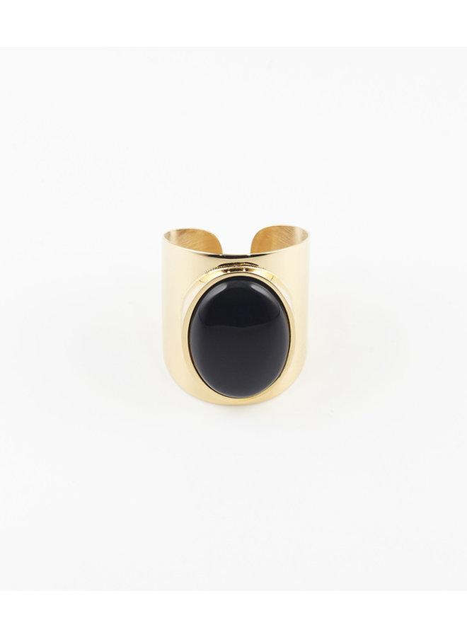 ZAG  Bijoux  verstelbare Onyx Stone ring - Goud