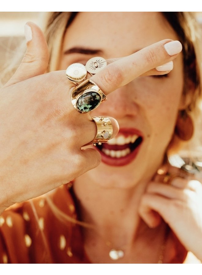 ZAG  Bijoux  verstelbare green Stone ring - Goud