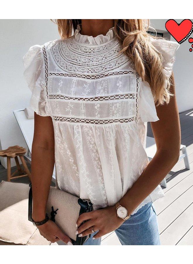 Boho ibiza lace top-white