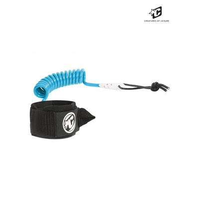 Creatures - Coiled wrist leash  Cyan 7mm  Urethane cord