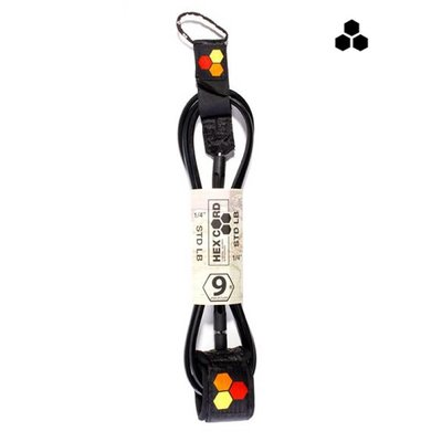 CI - 9' Hex Longboard Knee  Leash    - black