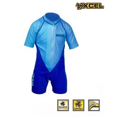 Xcel -Toddler ss lycra UV springsuit blue