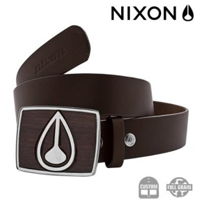 NIXON Enamel Icon Belt Dark Wood