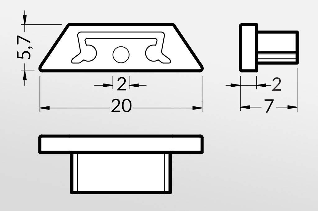 Eindkapjes BEND voor Cover `C`, Set van twee