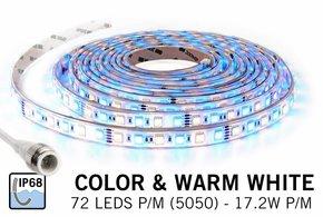 Waterdichte RGBW LED strip (IP68) met 360 leds 12V, 5 meter
