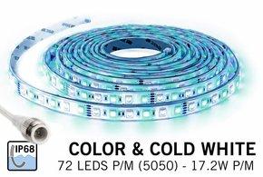 IP 68 Waterdichte RGBW LED strip Kleur + koud wit, 1,5meter, 108 leds 12V