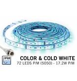 IP 68 Waterdichte RGBW LED strip Kleur + koud wit, 1,5meter 108 leds 12V