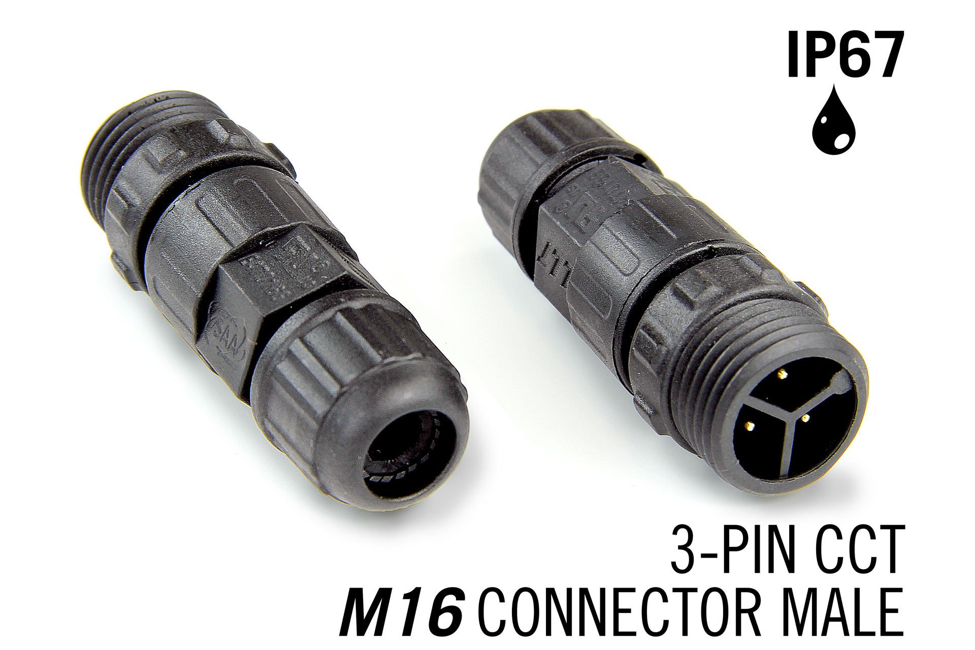 M16 3-polige IP67 Waterdichte Kabel Connector Male