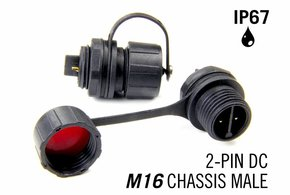 M16 2-polige IP67 Waterdichte Chassis Connector Male - DC