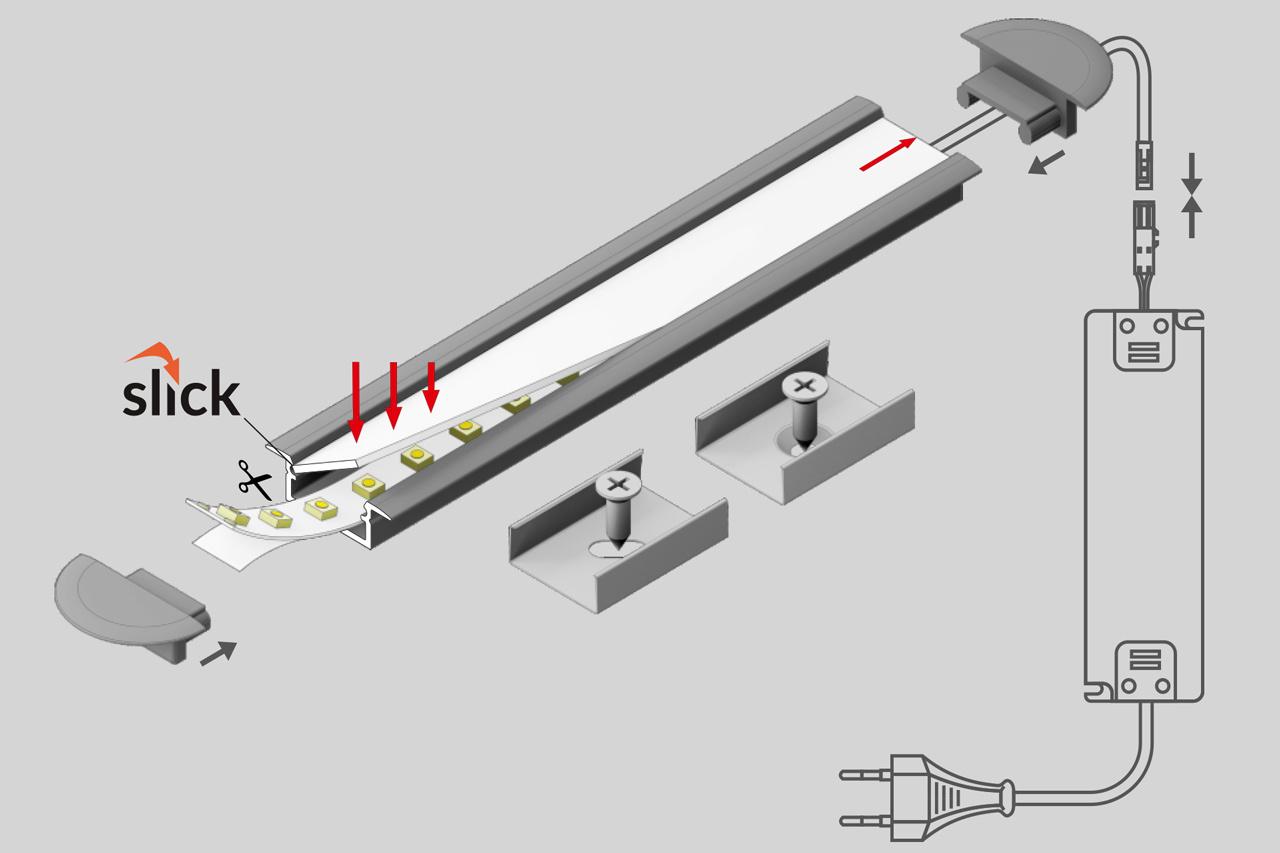 LUMO RS  12mm Verzonken Led Profiel 1m-2m